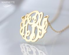 Monogram necklace 1 inch personalized by MarinetteJewelry on Etsy