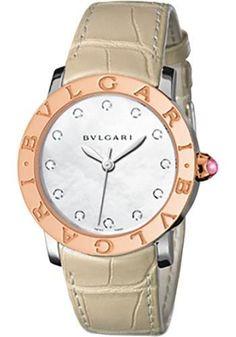 bulgari bulgari bulgari 33 mm steel and pink gold alligator strap watch