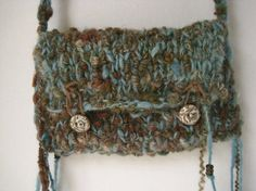 Hand Knit Bag Handspun Yarn Rustic Bohemian Purse by StoneandFiber, $65.00