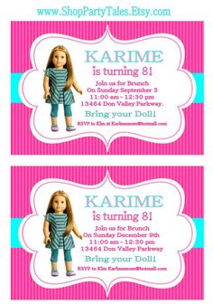 American Girl Birthday Party Invitations Free Printables AG doll