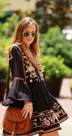 Embroidered boho dress and tassel bag