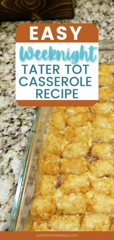 Craving some simple comfort food? This super easy tater tot casserole is the perfect recipe for weeknights. It quick to prep, and is easy to customize to your tates. Your family will love this weeknight casserole. Quick Family Dinners, Quick Easy Meals, Beef Casserole Recipes, Chicken Casserole, Easy Tater Tot Casserole, Pork Recipes For Dinner, Perfect Food, Amazing Recipes, Easy Recipes