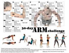 30 day arm challenge, I will try it along with my ab and leg challenge! 30 days is worth it all! You still have to eat healthy,  exercise (cardio), get plenty of sleep and drink plenty of water!