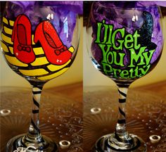 Wizard of Oz Inspired Hand painted wine glass.  Please like me on Facebook and visit my Etsy shop!  Facebook https://www.facebook.com/AllieeBugEtsy  Etsy  https://www.etsy.com/shop/AllieeBug