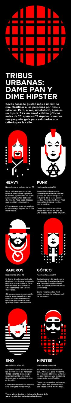 POPULAR CULTURE > Fashion/trends [Infographic] - Tribus urbanas. Infografia - Tribus urbanas