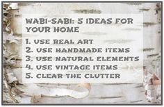 Sense and Simplicity: Wabi-Sabi: 5 Ideas for Your Home
