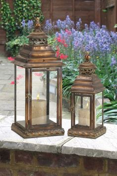 Metal Glass Lantern - Set of 2 by Nautical Living Decor Metal Lanterns, Lanterns Decor, Candle Lanterns, Candle Lighting, Wedding Lanterns, Glass Candle, Chandeliers, Rustic Vintage Decor, Moroccan Lamp