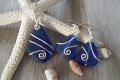 Handmade jewelry in Hawaii, wire wrapped cobalt blue sea glass necklace + earrings jewelry set, sterling silver chain,gift box,sea glass earrings, sea glass jewelry,Valentine's Day gifts for wife.