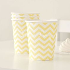 Chevron Yellow Cups $6.95 for 12
