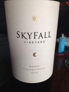 2013 Skyfall Vineyard Merlot - Columbia Valley - Bright ruby red with an intensely fruity nose. Some sweet cherry with oak. Dry and fruit forward, smooth and velvety. Red and dark fruits. A good Merlot, but not exceptionally interesting.
