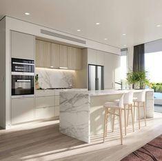 Modern Kitchen Interiors, Luxury Kitchen Design, Kitchen Room Design, Home Decor Kitchen, Interior Design Kitchen, Home Kitchens, Diy Kitchen, Kitchen Modern, Interior Modern