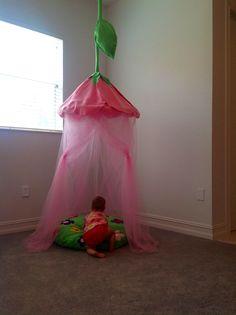 DIY fairy princess flower canopy! Great for a party photobooth.   felt and tulle