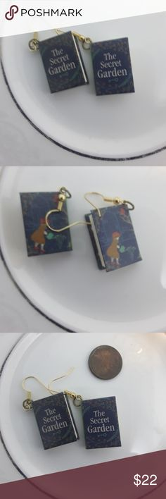 Secret Garden Mini book earrings CCO LOWEST 1 DAY Miniatures of the Secret Garden, with actual pages (blank)  Fall trend Gift present holiday holidays sparkle glam fashion stocking stuffer christmas hanukkah new years eve 2017 2018 xmas thanksgiving season lmw0082 Jewelry Earrings