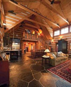rustic lodge style cabin my dream house Log Cabin Living, Log Cabin Homes, Log Cabins, Log Cabin Kitchens, Cabin Loft, Mountain Cabins, Cozy Cabin, Cozy Living, Lodge Style