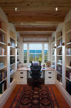 this is a great office too (the view doesn't hurt). I like the bookshelves, storage, size of the desk (lots of space) and clean lines