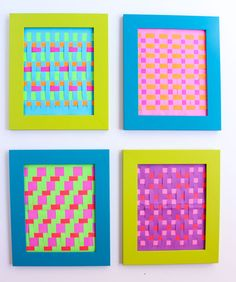 How to make woven paper art - a fun take on the classic paper weaving craft! Summer Camp Crafts, Camping Crafts, Paper Weaving, Weaving Art, Weaving Designs, Weaving Patterns, Colorful Picture Frames, Paper Art Design, Paper Cutting Machine