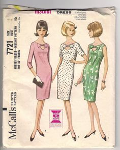This would look cute in black or navy with a white bow. VINTAGE McCALLS PATTERN 7721 Misses Dress with Bow neckline detail.