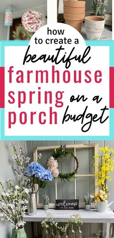 Do you need budget-friendly farmhouse spring porch decorating ideas? Come see how to make your porch look amazing - on the cheap! So much easier than you think! Porch Decorating, Decorating Ideas, Decor Ideas, Diy Decoration, Small Porches, Spring Home Decor, Diy Home Decor Projects, Creative Decor, Seasonal Decor