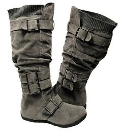 Knee High Faux Suede Flat Winter Buckle Boots