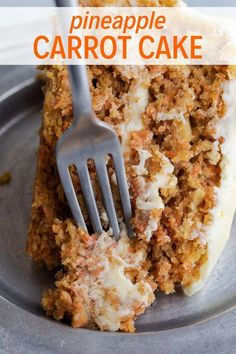 This pineapple carrot cake recipe features a moist carrot cake speckled with bits of pineapple and spiced with warm cinnamon, ginger, and nutmeg. Cream cheese frosting with orange zest is slathered over the cake for the ultimate treat. #MoistChocolateCakeRecipe Carrot Cake With Pineapple, Pineapple Frosting, Orange Carrot Cake Recipe, Baking Recipes, Dessert Recipes, Cupcake Recipes, Moist Carrot Cakes, Snacks Sains, Carrot Recipes