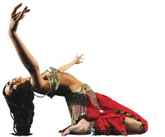 Belly dancing costume which emphasises the colour red and the use of metal coins