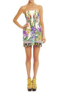 Strapless tropical print dress - adorable!