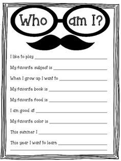'Who Am I' Writing Activity Good get to know you activity. Also would be fun for a bulitein board.