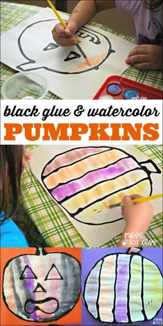 Black Glue and Watercolor Pumpkins - Mix black paint with white glue to make these Halloween crafts for kids Fall Crafts For Toddlers, Halloween Crafts For Kids, Crafts For Kids To Make, Halloween Themes, Halloween Fun, Art For Kids, Fall Preschool Activities, Painting Activities, Preschool Crafts