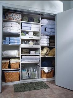 Storage: Linen Closet Organizers: A Solution to Organize Linens bed covering bedding sets bed spreaders towels for bathing boxes for linen storage Linen Closet Organization, Home Organisation, Closet Storage, Toy Storage, Bathroom Organization, Organization Ideas, Storage Shelving, Small Storage, Bathroom Closet