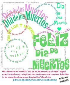 "These are FREE (GRATIS) wordart templates from my FREE (GRATIS) huge Dia de los Muertos digital scrap kit in 300 dpi with 12"" x 12"", 5"" x 7"", and 8"" x 10"" digital papers. Over 100 elements and over 30 papers, all FREE....GRATIS para usted. Grande gratis digital scrapbook kit Dia de los Muertos"