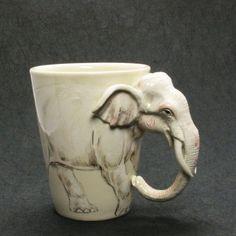 White Elephant Mug Original hand sculpt and hand paint Home Decor Art