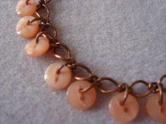Peach Button Copper Charm Bracelet. $15.00, via Etsy.