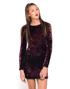 Our much loved, best selling Gabby is THE ultimate party dress! In an exclusive dazzling burgundy sequin on a luxe velvet, ultra flattering bodycon fit, long sleeves and sultry V back. Sequin Evening Dresses, Sequin Party Dress, Bodycon Dress Parties, New Years Dress, Club Dresses, Dress Backs, Dress Skirt, Dress Red, Purple Dress
