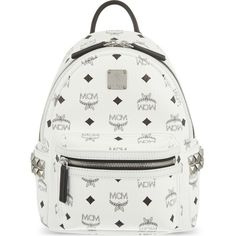 MCM Stark Classic mini backpack ($715) ❤ liked on Polyvore featuring bags, backpacks, white, mcm, backpacks bags, white studded backpack, monogrammed bags and mcm bags