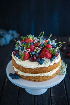 Sponge Cake with Berries and Cherries | The Hungry Australian .... I already have this under desserts, but wanted to add it to entertaining too, i'm just in love with this cake, it's too beautiful for words....