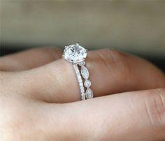 Natural 7mm Round Cut White Topaz Engagement Ring Set Art Deco
