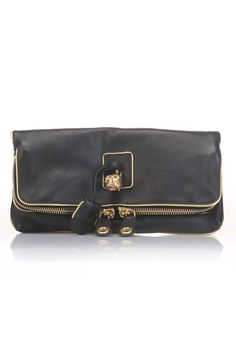 Alexander McQueen Foldover Clutch With Gold Trimming In Black - Beyond the Rack