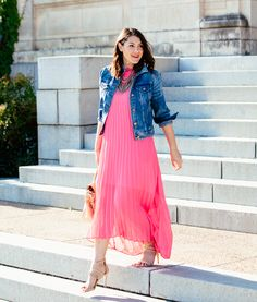 pink maxi dress 2017 with denim jacket