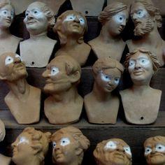 Terra-cotta nativity figure heads, eyes already inserted, Naples, Italy