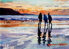 Sunset Friends on the beach at Woolacombe. watercolour painting by Steve PP.