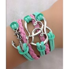 Fashion jewelry promotion store,Supply all kinds of cheap fashion jewelry Anchor Double Heart & Infinity bracelet - Anchor, Double Heart & Infinity braceletthe length of the cm (extend chain) Leather Cord Bracelets, Love Bracelets, Handmade Bracelets, Fashion Bracelets, Fashion Necklace, Handmade Jewelry, Infinity Bracelets, Friendship Bracelets, Bangles