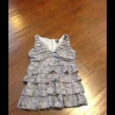 Top Gray top w/Ruffles exposed zipper in back Express Tops Blouses