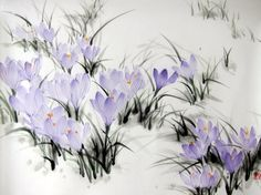 Spring Crocuses#1 Japanese Ink Painting on Rice Paper, 13x18 inch,Suibokuga,Sumi-e Violet