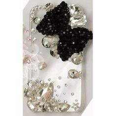 $38.49 BIG BLING Black Bow 3d Handmade Swarovski Crystal & Rhinestone Iphone 4 case/cover by Jersey Bling