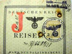 """German Nazi-Passport with the infamous """"J-Stamp"""" for Jew, 1938 (link to info on law)"""