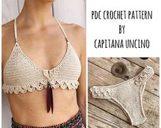 PDF-file for Crochet PATTERN, Ariella Mermaid Bralette and Brazilian Bottom, Sizes XS-L, Cheeky