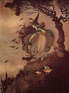 Beautiful witch illustration with black cat, broomstick, toads and bats! Perfect for Halloween. - illustrated by Ida Rentoul Outhwaite, The Little Witch, 1916 Retro Halloween, Fall Halloween, Happy Halloween, Halloween Table, Halloween Signs, Halloween Costumes, Halloween Stuff, Halloween Makeup, Vintage Halloween Cards