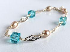 Swarovski Crystal Bracelet Gold and Pearl by AustinDowntoEarth