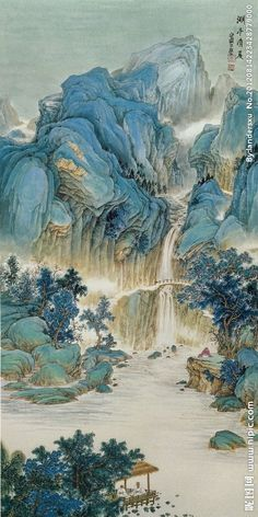 Asian Landscape, Chinese Landscape Painting, Japanese Painting, Chinese Painting, Landscape Paintings, Japanese Art Prints, Japanese Drawings, Japanese Artwork, Art And Illustration
