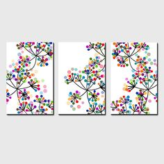 Modern Decor Black and White Colorful Dots Botanical Trio